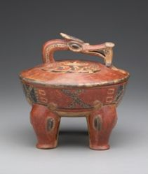 Lidded Vessel with Peccaries, Bird, and Fish