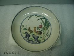 Dish with Rooster and Chicken