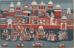 Marriage Procession of Krishna's Grandson Aniruddha, from a History of the Lord (Bhagavata Purana) manuscript