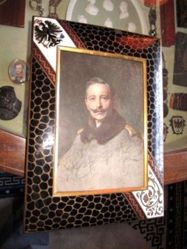 Gilt bronze and enamel picture frame with photograph of Kaiser Wihelm II