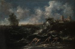Seascape with Fisherman Pulling out Nets