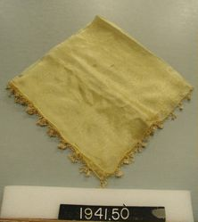 Square of silk gauze with Bibyla lace edging.