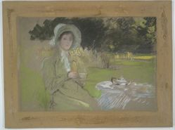 Study: Woman in garden drinking tea