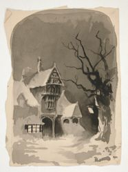 A Winter Scene: House in the Snow (recto); Assorted Figure Studies (verso)