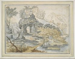 Landscape with Buildings on Archway in Rocks