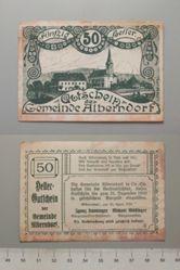 50 Heller from Alberndorf, issued 25 April 1920, redeemable 31 Dec. 1920, Notgeld