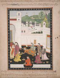 Fainting lady fanned by attendants