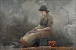 A Fishergirl Baiting Lines