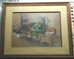 Interior with Man Writing