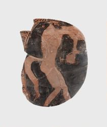 Athenian red-figure vase fragment of a Satyr reaching out to Dionysos or a maenad