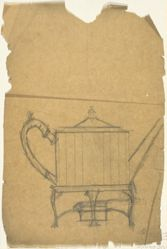 Rough tracing for a hot water kettle and burner (recto and verso)