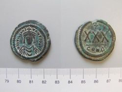 Three-Quarter Follis (30-nummi) of Tiberius II from Constantinople