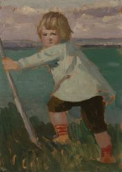 Boy on a Cliff Leaning on a Stick