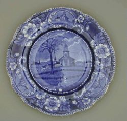 Plate with winter view of Pittsfield, Massachusetts