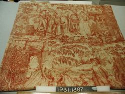 """Length of printed cotton, """"Departure for School"""""""