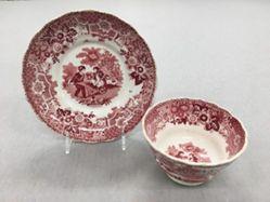 "Teabowl and Saucer, ""Garden Sports"" Pattern"