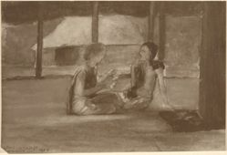 Girls in Samoan Hut