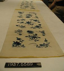 Two lengths of tapestry woven silk