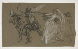 Petruchio pulling Katharina, from Taming of the Shrew (recto); Sketch of seated figure (verso)