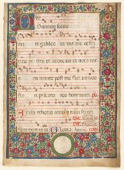 Leaf from a gradual,: introit for the Feast of Saint Andrew:, with floral border