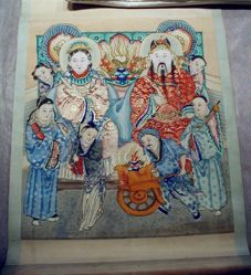 Chinese male and female deity with attendants