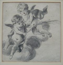 Two putti above clouds