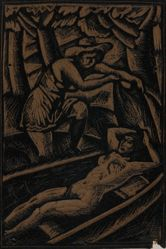 Linoleum block for Lady in Canoe, or Reclining nude in boat