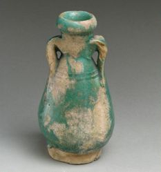 Small Two-handled Green Glazed Vessel