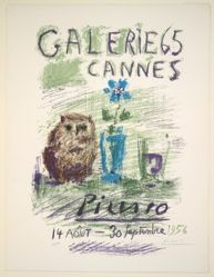 Galerie 65, Cannes, or Hibou, verre et fleur (Owl, Glass and Flower)