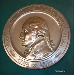 """Copper Plaque of George Washington, """"First In the Hearts Of His Countrymen"""""""