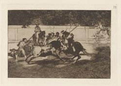 El esforzado Rendon picando un toro, de cuya suerte murió en la plaza de Madrid (The Forceful Rendon Stabs a Bull with the Pique, from which Pass He Died in the Ring of Madrid), Plate 28 from La tauromaquia