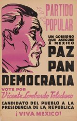 Partido popular . . . paz, pan, democracia (Party of the People . . . Peace, Bread, Democracy)
