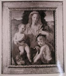 Photograph of framed painting of Madonna and Child with St. John [painting by KSD?]