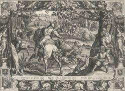 Hunt for Wild Boar, from the series Hunting Scenes, in Ornamental Frames