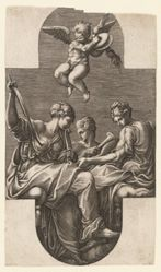 Three Muses and a Putto with Cymbals