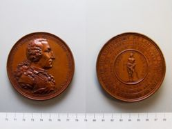 Bronze medal of George Washington in armor (Eccleston medal)