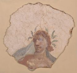 Fragment of wall painting with a woman's head