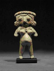 Standing pregnant female figurine with engraved headband