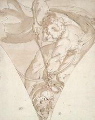 Apollo Killing the Python, study for a spandrel in the Palazzo Antonio Doria (Palazzo della Prefettura), Genoa