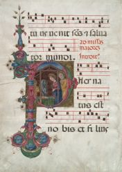 "Bifolium from a Gradual: Nativity in an Initial ""P"""