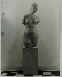 "Photograph of foyer of Katherine S. Dreier's West Redding home, ""The Haven,"" with sculpture of a Female Torso by Wilhelm Lehmbruch [YUAG 1953.6.5]"