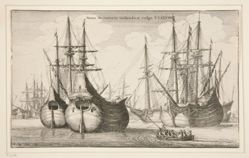 Dutch Freighters, from Navium varie figurae, number ten of a series of twelve etchings of  Dutch ships