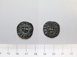 Billon denier of William II de Villehardouin from Corinth, Achaia