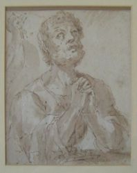 A man with hands clasped looking up (possibly St. Peter)