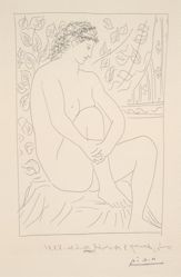 Femme nue assise devant un rideau (Nude Seated before a Curtain)