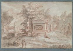 Landscape with tomb, bust, and figures