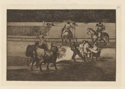 Banderillas de fuego (Banderillas with Firecrackers), Plate 31 from La tauromaquia