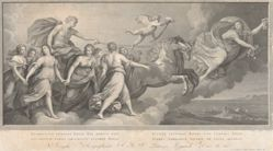 Quadrijugis invectus equis sol aureus exit (The Golden Sun Leaves Driven by a Team of Four Horses), after a ceiling fresco of 1614 in the Casino dell'Aurora, Pallavicini-Rospigliosi, Rome