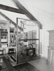 "Interior view of Katherine S. Dreier's West Redding home, ""The Haven"" -- Library with Marcel Duchamp's Large Glass [Philadelphia]"