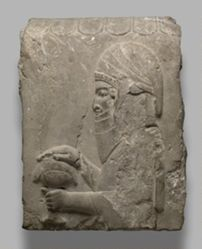 Fragment of a relief: Man holding covered cup